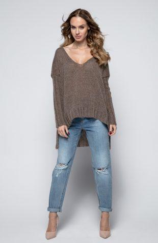 Lekki luźny sweter z dłuższym tyłem