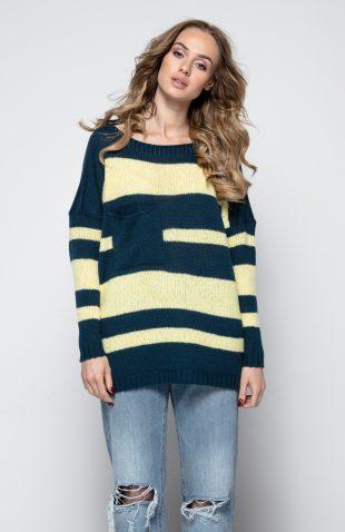 Lekki wiosenny sweter w asymetryczne pasy
