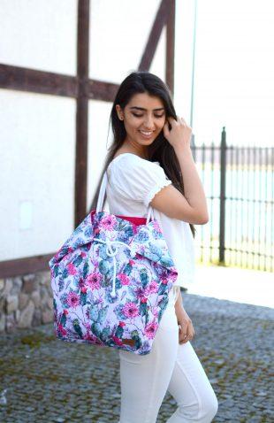 Duża torba worek w kwiaty