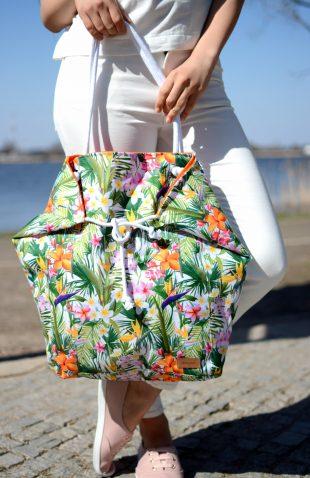 Duża torba worek w kwiatowy motyw