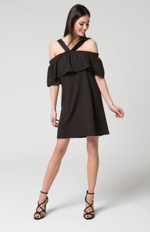 Sukienka na ramiączka z hiszpańską falbaną czarna