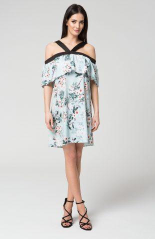 Sukienka na ramiączka kwiatowy wzór niebieska
