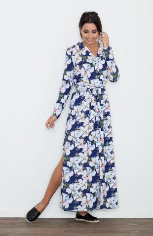 Sukienka wiązana w pasie duży kwiatowy wzór