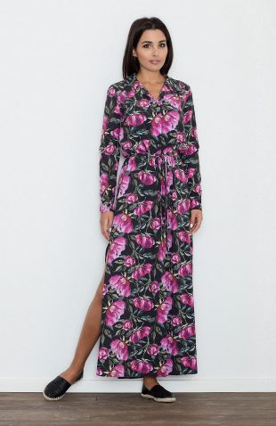 Sukienka wiązana w pasie modny kwiatowy wzór