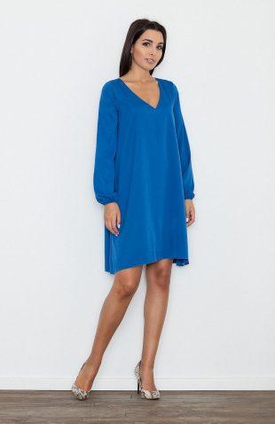 Sukienka o luźnym kroju rozszerzana niebieska