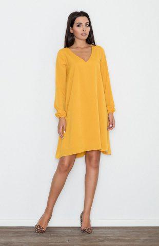 Sukienka o luźnym kroju rozszerzana żółta