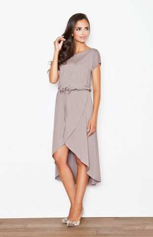 Sukienka z lejącej dzianiny asymetryczna