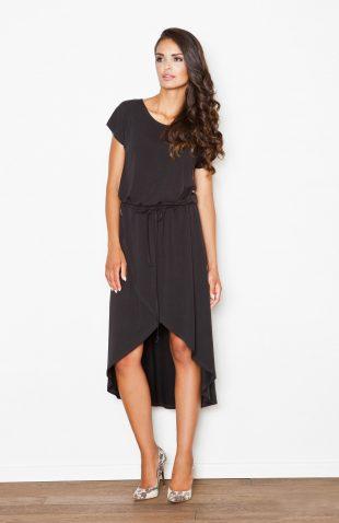 Sukienka z lejącej dzianiny asymetryczna czarna