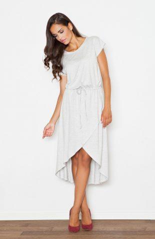 Sukienka z lejącej dzianiny asymetryczna szara