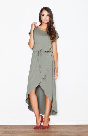Sukienka z lejącej dzianiny asymetryczna oliwka