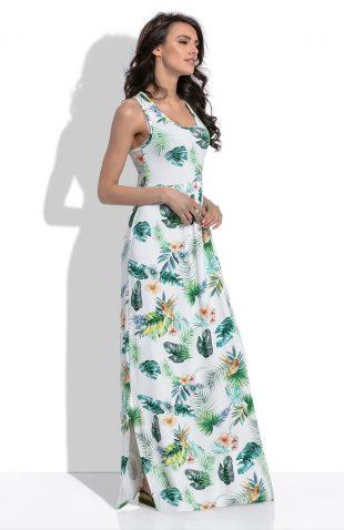 Sukienka letnia maxi kwiaty i liście na jasnym tle