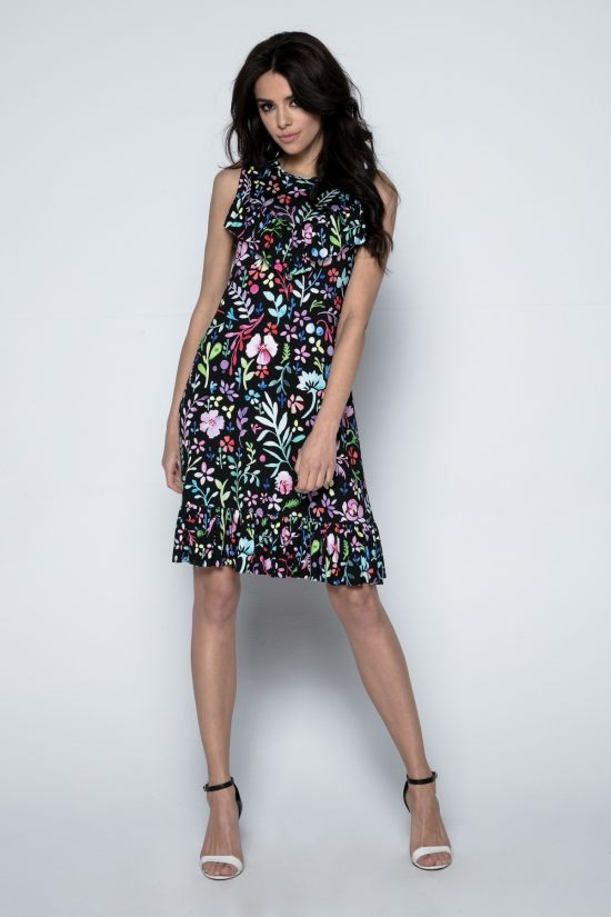 Sukienka w drobne kwiaty na ciemnym tle
