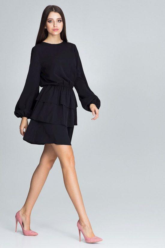 Sukienka marszczona w pasie z falbanami czarna