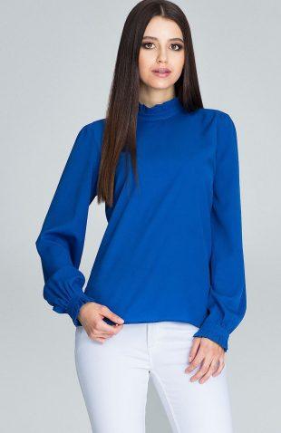 Elegancka bluzka z marszczonym rękawem niebieska