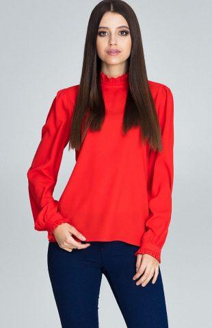 Elegancka bluzka z marszczonym rękawem czerwona
