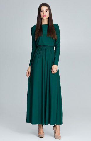 Sukienka maxi marszczona w talii zielona