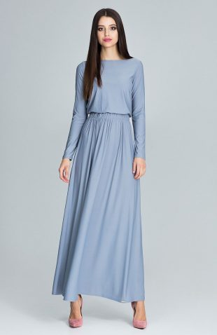 Sukienka maxi marszczona w talii szara