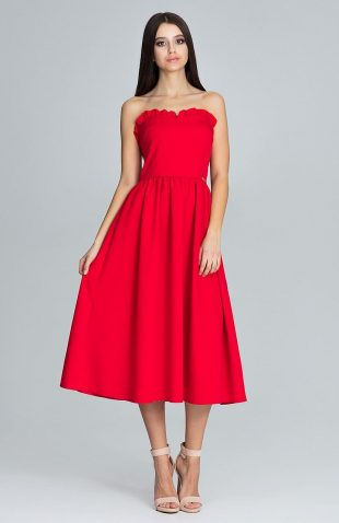 Sukienka gorsetowa midi czerwona