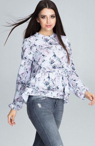 Bluzka w kwiatowe wzory z falbankami ecru