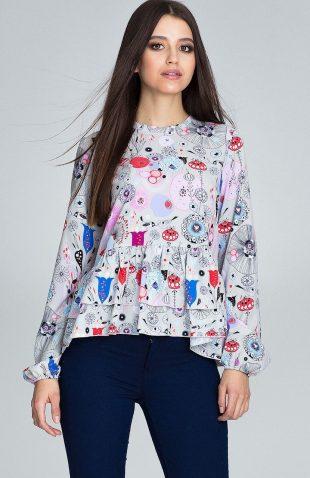 Bluzka w kolorowe wzory z falbankami ecru