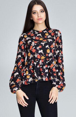 Bluzka w kolorowe kwiatki z falbankami czarna