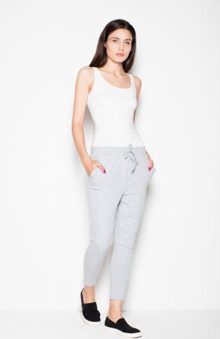 Spodnie damskie dresowe wiązane w pasie jasny szary