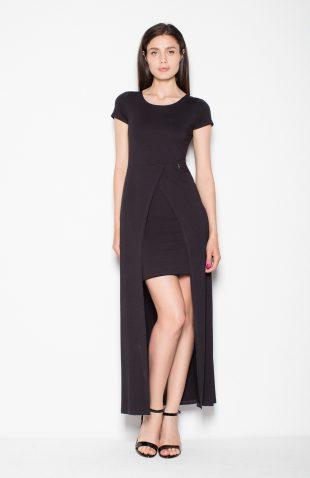 Sukienka dwuwarstwowa z przedłużanym tyłem