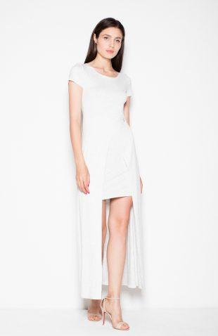 Sukienka dwuwarstwowa z przedłużanym tyłem melanż