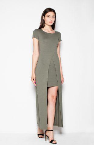 Sukienka dwuwarstwowa z przedłużanym tyłem oliwka