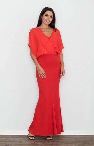 Sukienka ołówkowa z kimonową górą czerwona