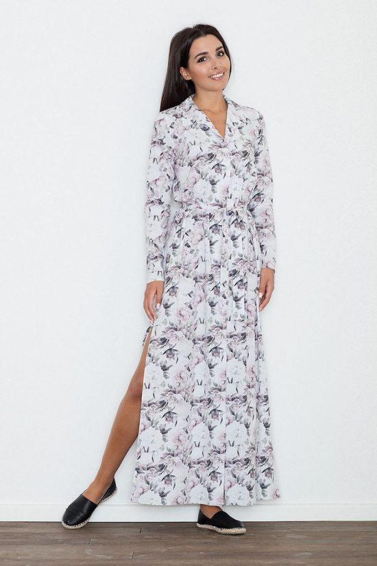 Sukienka wiązana w pasie kwiatowy wzór