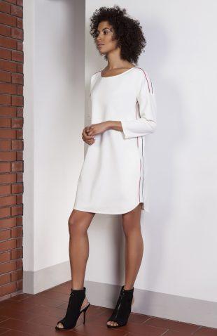 Sukienka casual z lampasami ecru