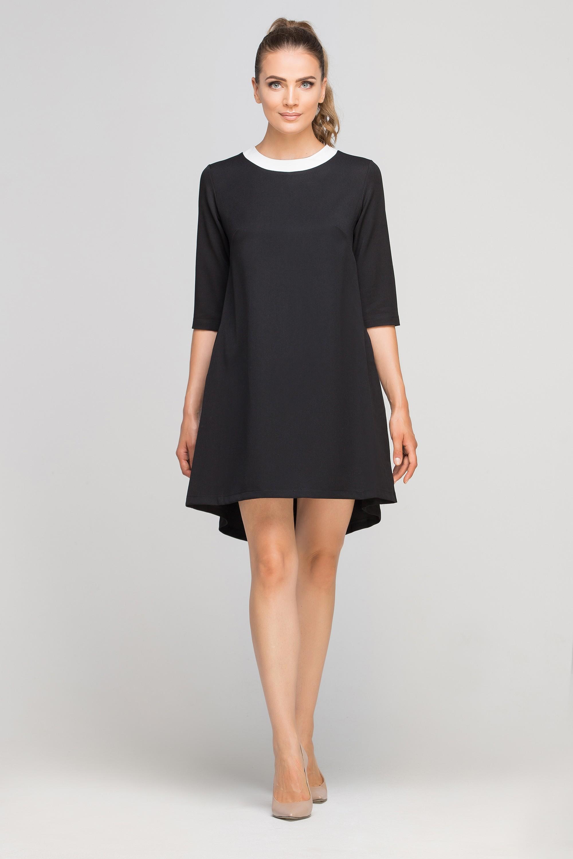 a6e9d6a2bac1b5 Sukienka mini z dłuższym tyłem czarna - w rozmiarach od 34 do 44