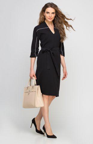 Sukienka do kolan z kontrastową lamówką czarna