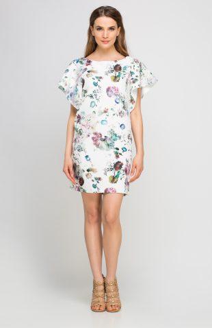 Sukienka w kwiatki z falbaniastym rękawem