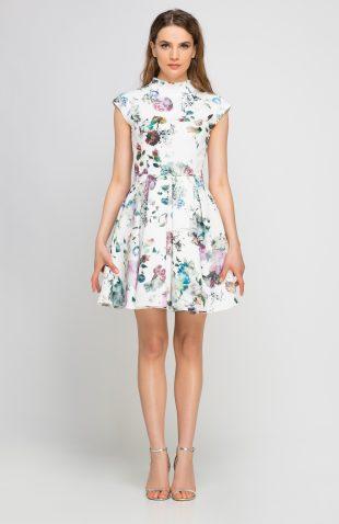 Sukienka ze stójką w kwiatki