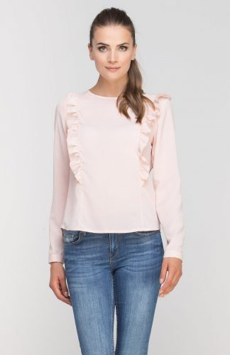 Lekka elegancka bluzka z falbanami róż