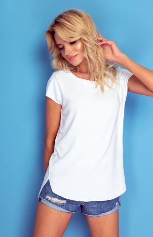 Koszulka basic o luźnym długim kroju