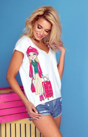Koszulka z autorskim nadrukiem dziewczyna z walizką