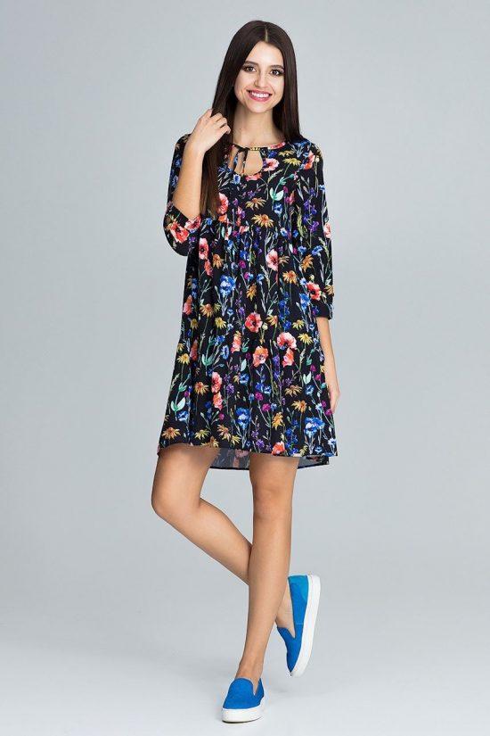 Sukienka w kwiaty wiązana pod szyją czarna