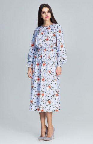 Sukienka kwiecista z bufiastym rękawem niebieska