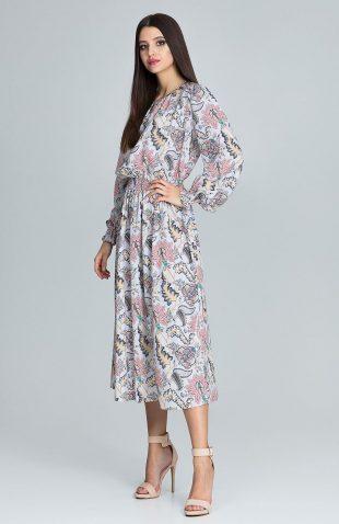 Sukienka kwiecista z bufiastym rękawem beż