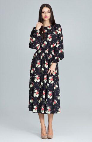 Sukienka kwiecista z bufiastym rękawem czarna