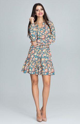 Sukienka w kwiaty z paskiem niebieska