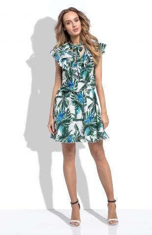 Sukienka w tropikalny wzór z falbanami przy dekolcie