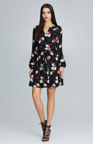 Sukienka kwiaty z paskiem czarna