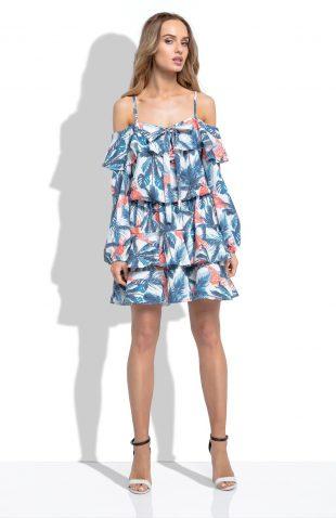 Sukienka hiszpanka liście i flamingi