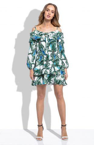 Sukienka w stylu hiszpanka liście i papugi