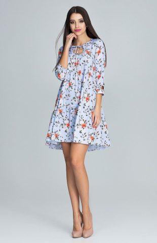Sukienka w kwiaty wiązana pod szyją niebieska