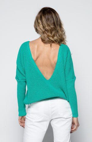Sweter wiosenny odsłaniający plecy